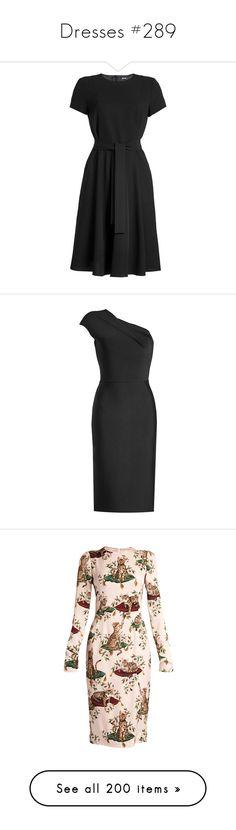 """""""Dresses #289"""" by bliznec ❤ liked on Polyvore featuring dresses, black, circle skirts, lbd dress, belt dress, flared skirt, little black dress, one shoulder cocktail dress, roland mouret dress and holiday cocktail dresses"""