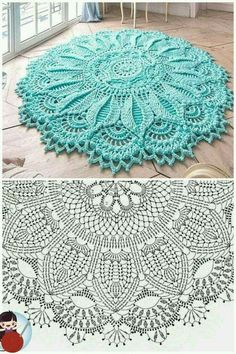 Crochet Doily Rug, Crochet Carpet, Crochet Dollies, Crochet Mandala Pattern, Crochet Square Patterns, Crochet Tablecloth, Crochet Diagram, Crochet Home, Diy Crochet