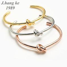 Simple Knot Cuff Bracelet Gold Bangle Bracelet For Women