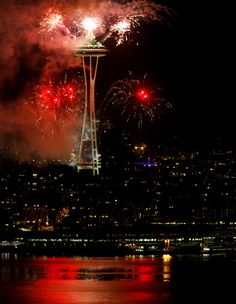 West Seattle Blog… » It's on! 2013 bursts in with Space Needle fireworks, seen from West Seattle