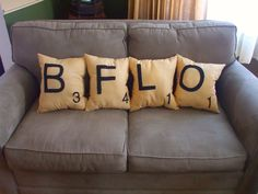 Scrabble Pillows! Pillow and game all in one. :)
