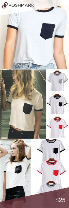 Pocket crop top Brand new with tag. Bundle discount 15%. Made of cotton blend Tops Crop Tops