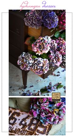 Dried hydrangea dresser outdoors in outstanding colours, via Funky Junk Interiors. Go big or go home on this one! :)