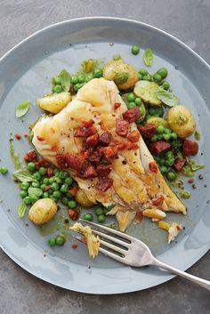 Cod and chorizo with pesto potatoes and peas