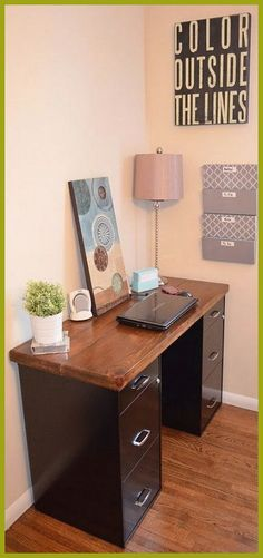 Top 20 Filing Cabinet Desk - Best ideas about Filing Cabinet Desk . Save or Pin An Inviting Home A DIY Desk Now. Mesa Home Office, Home Office Desks, Office Table, Table Desk, Dining Tables, File Cabinet Desk, Filing Cabinets, Painted File Cabinets, Metal Cabinets