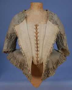 Checked silk w/ ruffles, linen lined. Since caraco, put in Dutch. ALady.Inside view of a silk Caraco jacket, c. 1770