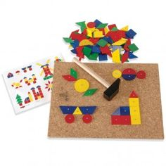 GAME--Hammering Shapes (by Haba) (Hammer small nails through pre-drilled holes in various shapes to a corkboard)