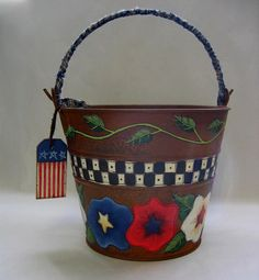Patriotic Tole Painted Large Rusty Metal Pail by barbsheartstrokes,