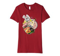 Amazon.com: Surreal Collage Abstract Art Flowers Asian Theme T-Shirt: Clothing