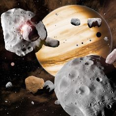 In this artist's conception, Jupiter's migration through the solar system has swept asteroids out of stable orbits, sending them careening into one another. As the gas giant planets migrated, they stirred the contents of the solar system. Objects from as close to the Sun as Mercury, and as far out as Neptune, all collected in the main asteroid belt, leading to the diverse composition we see today.
