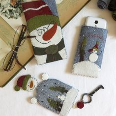 Kit feutrine Noel, Bonhommes de neige en vadrouille, feutrine de laine Cinnamon Patch