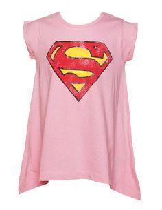 Kinderrosa Drapierte Hem Supergirl T-Shirt Aus Stoff Flavours fd6d26e27b62