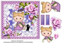 Rosie s Flowers on Craftsuprint designed by Mary MacBean - Cute little girl in her best frock with lace and roses. There is a Happy Birthday sentiment or a blank tag for your own message. This card is suitable for females of all ages and for many different occasions.  - Now available for download!