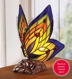 Stained Glass Butterfly Accent Lamp ~ available for purchase via JoySavor http://joysavor.com/product/stained-glass-butterfly-accent-lamp/