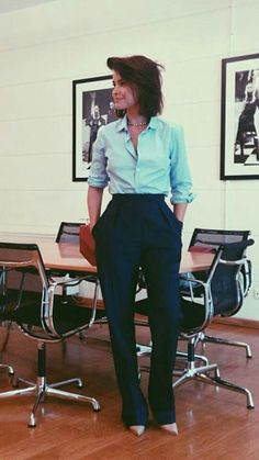 high waisted trouser, button up shirt, pointed toe heels