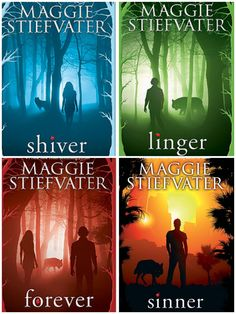 The Wolfs of Mercy Falls books by Maggie Stiefvater: Shiver, Linger, Forever & Sinner.