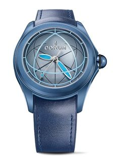 The @corumwatches Bubble Sphere2 is housed in a blue-PVD-coated case, has a blue dial that continues the dome motif of the crystal, offering the illusion of a sphere within a sphere.  This watch was designed by Corum and industrial designer Nicolas Le Moigne and is limited to 350 pieces.  For the full story, visit http://www.watchtime.com/wristwatch-industry-news/watches/return-of-the-corum-bubble-watch-three-new-models-debut/ #corum #watchtime #watchnerd