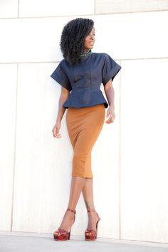 Peplum Jacket + Fitted Midi Dress