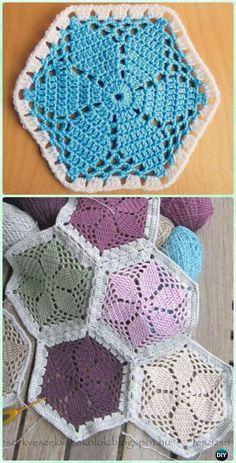 Crochet Granny's Garden Flower Hexagon Motif Free Pattern - Crochet Hexagon Motif Free Patterns