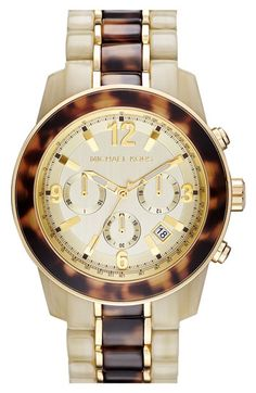 Michael Kors 'Preston' Two Tone Chronograph Bracelet Watch available at #Nordstrom