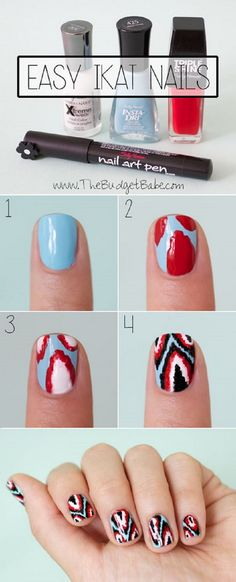 Easy Ikat Nails Tutorial with Sally Hansen - Nails - Different colors……Easy Ikat nail art tutorial - Sharpie Nail Art, Nail Art Diy, Easy Nail Art, Diy Nails, Diy Art, Fancy Nails, Cute Nails, Pretty Nails, Gold Nails