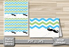 Baby Shower Tent Empty with Mustache Chevron in Blue Green for Food - Printable Food Tent Place Cards for Party - Instant Download - m2 by DigitalitemsShop on Etsy