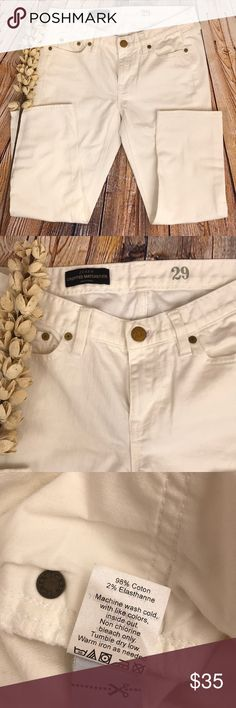 """J CREW WHITE MATCHSTICK CROPPED JEANS In great condition minus one tiny dot on back of thigh(picture included) Size 29/8 PRODUCT DETAILS Our much-loved matchstick jean now comes in a new cropped fit—in ever-classic white, it's denim perfection.  Sits lower on hips. Slim through hip and thigh, with a slim, straight leg. Cotton. 26"""" inseam. 13"""" leg opening (based off size 28). Traditional 5-pocket styling. Machine wash. Import. Item 88183. J. Crew Jeans Ankle & Cropped"""