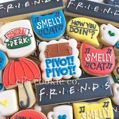 Friends Birthday Cake, Friends Cake, 14th Birthday, Birthday Cookies, Hubby Birthday, Cake Tv Show, Baby Showers, Sugar Cookies, Iced Cookies