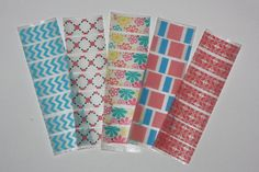 Pink & Blue Print Theme Washi Tape Stickers For Erin Condren Life Planner ECLP Accessories via Etsy $5.