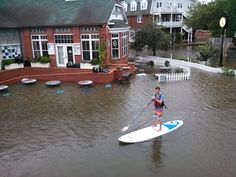 Downtown Manteo is accessible by stand up paddleboard following Hurricane Arthur.  :: Outer Banks :: Photo by Full Moon Cafe and Brewery