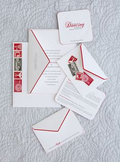 white paper with gray ink and red accents / letterpress / invitation + reception card coaster + reply card