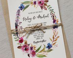 Boho Chic Wedding Invitation Floral Wedding Invitation