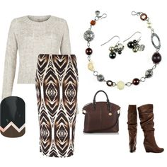 Mix of cream sweater, browns in the skirt, brown purse and boots, Mialisia Milano necklace, Mialisia Aurora Earrings http://carolyn.mialisia.com and Jamberry Traverse Nails http://woodburn.jamberrynails.net