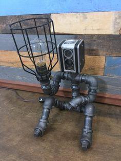 Robot Lamp, Pipe Lamp, Industrial Decor, Steampunk Lighting, Pipe Decor, Man…