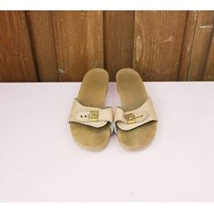 Scholls clog sandals are perfect for a number of spring and summer outfits. They have an all leather upper in a soft nude color with gold metal. Wooden Sandals, Wooden Clogs, Clog Sandals, Flats, Nude Color, Birkenstock, Summer Outfits, Leather, Shoes