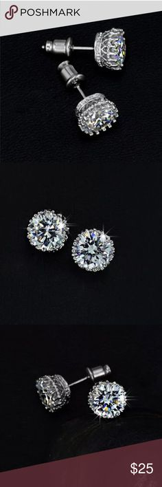 18K White Gold Australian Crystal Brand New Boutique Quality Absolutely Stunning Earrings Stud Post 18 K. White Gold Plated for wear and shine longevity. Any questions please don't hesitate to ask 💕 Jewelry Earrings