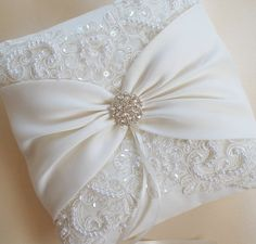 Items similar to Wedding Pillow, Wedding Cushion, Lace Pillow, Ivory Satin and Beaded Alencon Lace, Ivory Satin Sash Cinched by Crystals - The MIRANDA Pillow on Etsy Ring Bearer Pillows, Ring Pillows, Wedding Pillows, Ring Pillow Wedding, Wedding Ring, Wedding Dress Crafts, Wedding Guest Book, Etsy, Wedding Accessories