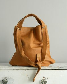 The Tesser: Caramel Tan Soft Leather Tote / Leather por AwlSnap
