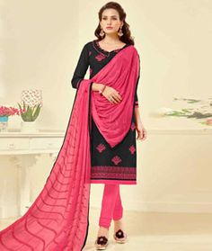Buy Black Cambric Cotton Churidar Suit 77847 online at lowest price from huge collection of salwar kameez at Indianclothstore.com.
