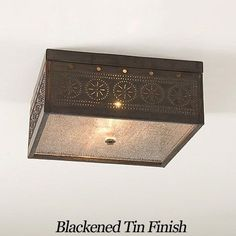 Square Ceiling Light with Chisel Punched Tin Design Irvin's Country Tinware