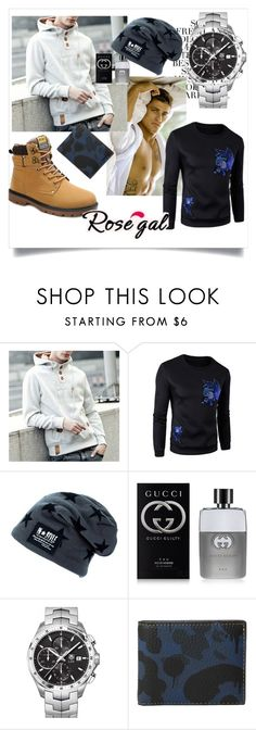"""""""//Rosegal-Men Style 16/I"""" by lightcoti ❤ liked on Polyvore featuring Folio, Gucci, TAG Heuer and Coach"""