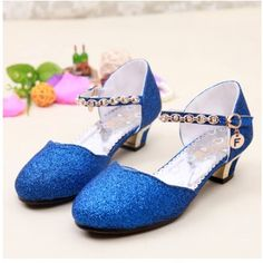 WENDYWU High Quality 2017 Girls Fashion Sequined Princess High-Heeled Sandals Children Rhinestone Pearl Chain Round Toe Shoes #Affiliate