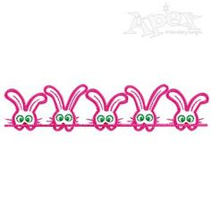 Bunny Line Embroidery Designs. Great for bottom of a towel or a boarder. Size: 3.25""