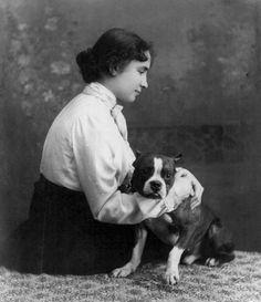 Helen Keller, Terrier Dogs, Pitbull Terrier, I Love Dogs, Puppy Love, Famous Atheists, Boston Terrier Love, Boston Terriers, Pit Bull Love