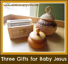 DIY three gifts for baby Jesus brought to him by the wise men. Also, included is a tutorial for crafting the wooden peg wise men.