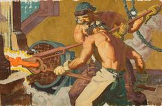 DEAN CORNWELL (American, Forging a Crankshaft Mixed media on board x in. Not signed Artist's - Available at 2011 May New York Signature. Dean Cornwell, New York Art, American Indian Art, Tribal Art, Art Auction, Art Images, New Art, Painting & Drawing, Photo Art