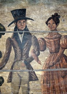 Detail of 1830's style couple on a fireboard by Steve Shelton.