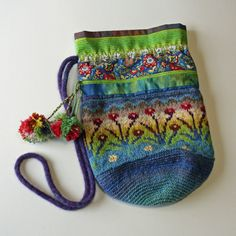 Sirkka. A folk bag by Peony And Parakeet. A combination of knitting, crochet, and fabric!