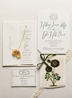 An elegant customization of Bella Figura's Woodland wedding invitation with personalized bookmark save the dates (complete with tassels!)