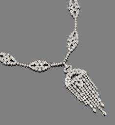 A diamond tassel necklace